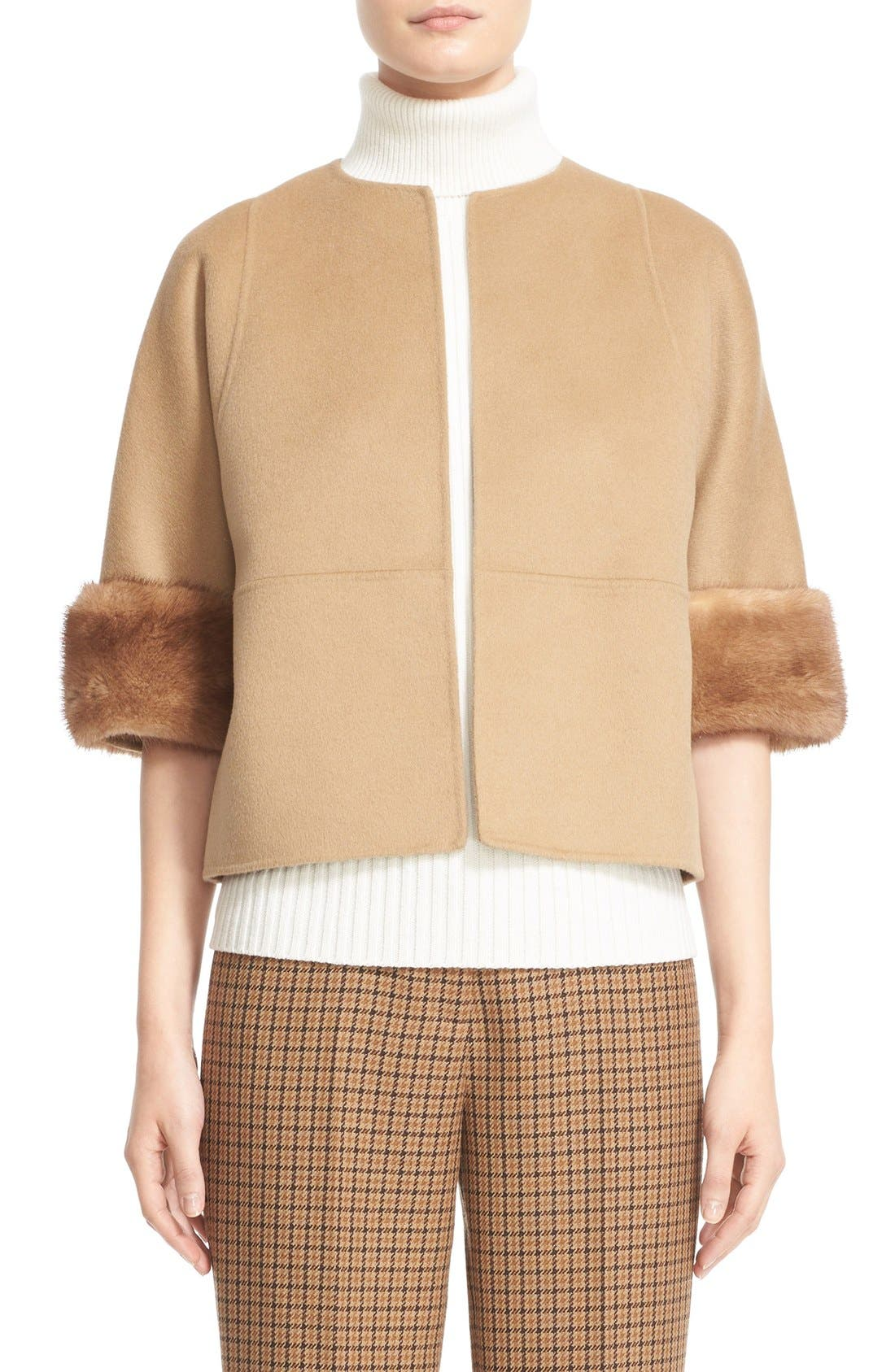 Alternate Image 1  - Michael Kors Genuine Mink Fur Cuff Wool Blend Jacket