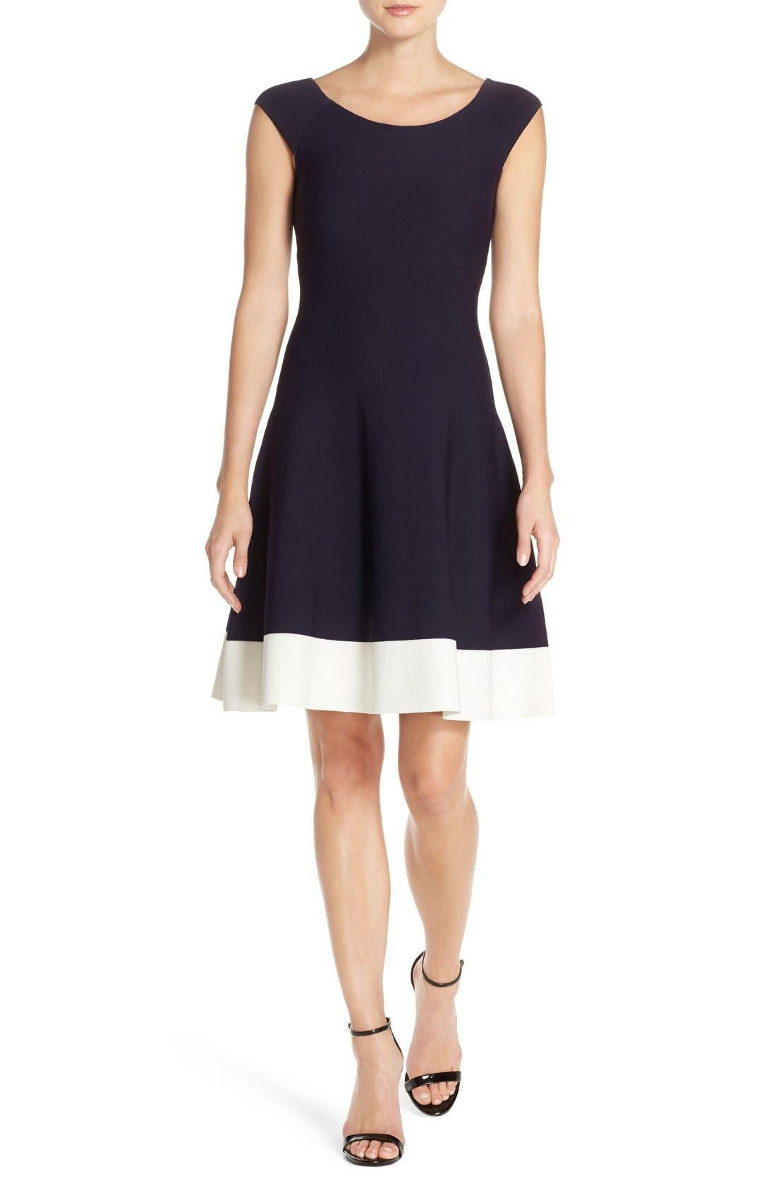 Main Image - Eliza J Colorblock Fit & Flare Sweater Dress (Regular & Petite)