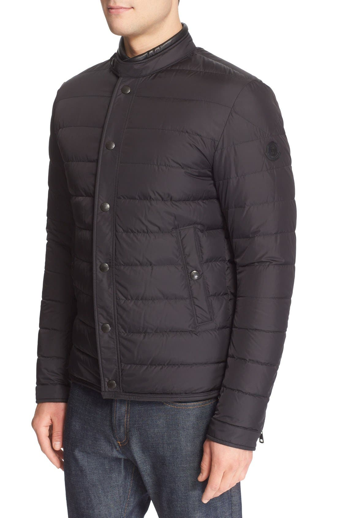 MONCLER 'Hanriot' Leather Trim Quilted Down Moto Jacket