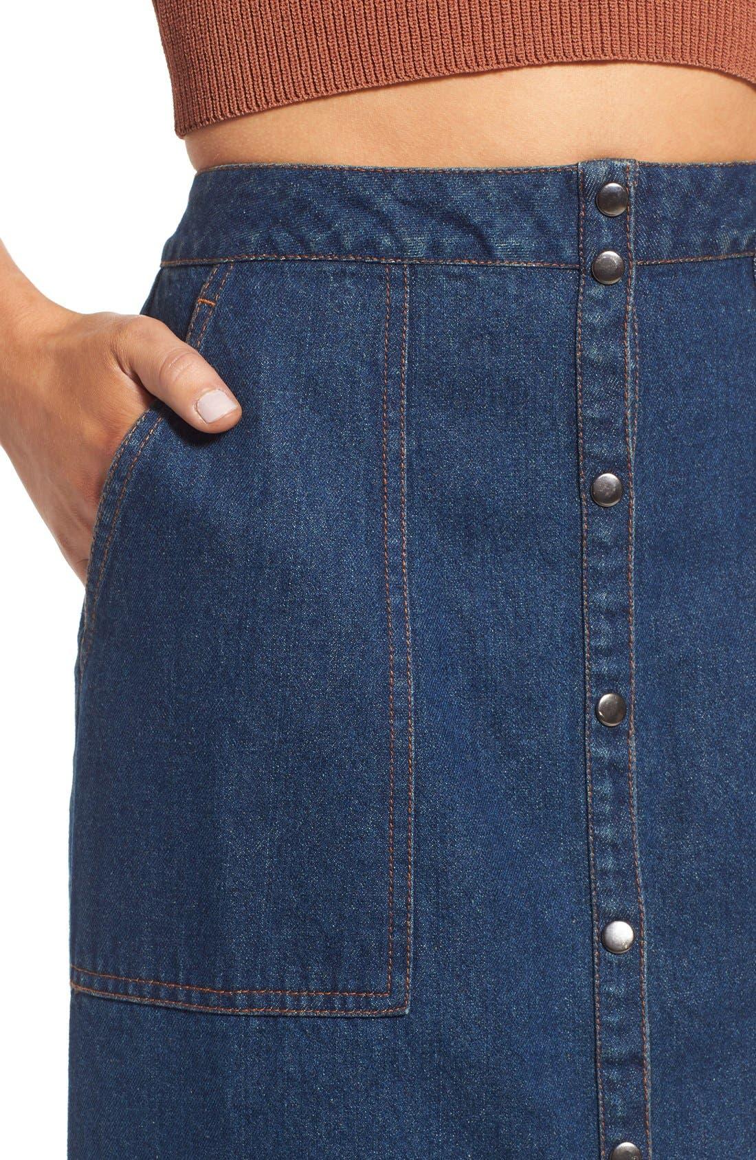 Alternate Image 5  - ASTR 'Francisca' Button Front Denim Skirt