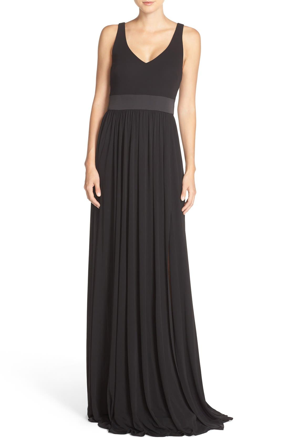 Vera Wang V-Neck Jersey Gown