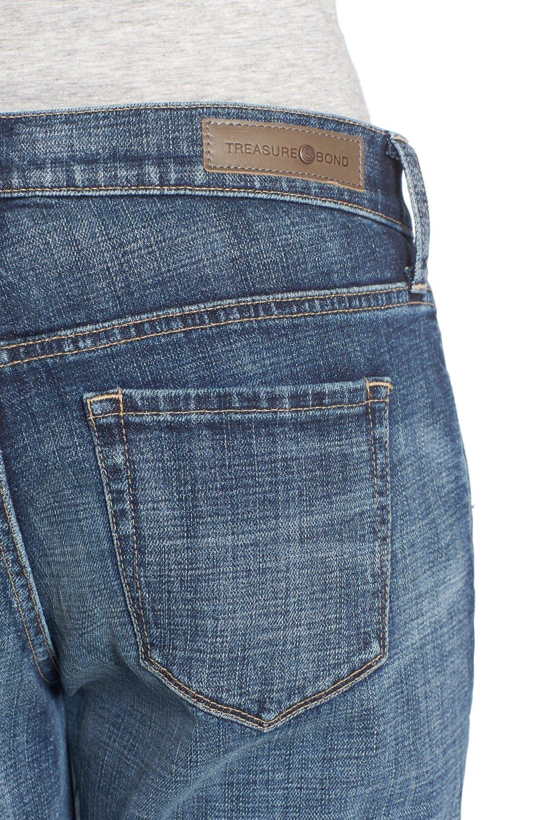 Alternate Image 4  - Treasure&Bond Ankle Boyfriend Jeans (Rustic Dusk Destroy)