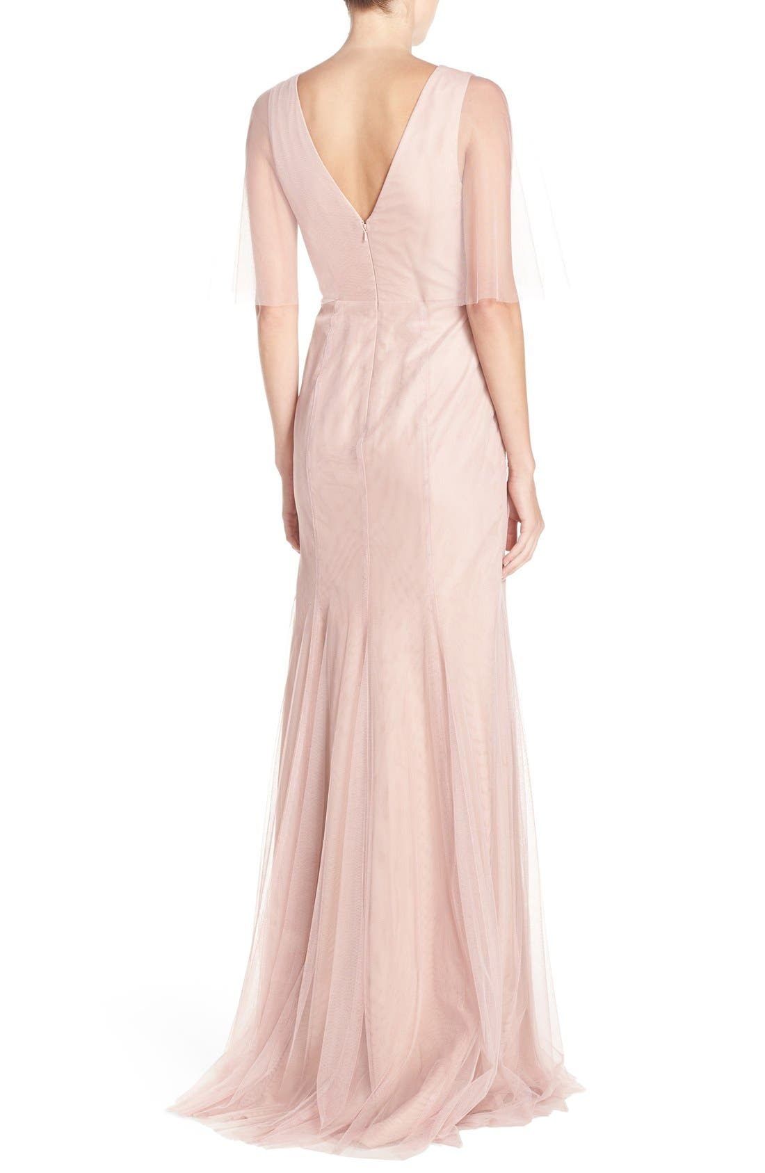 Alternate Image 2  - Monique Lhuillier Bridesmaids Sheer Capelet V-Neck Tulle A-Line Gown