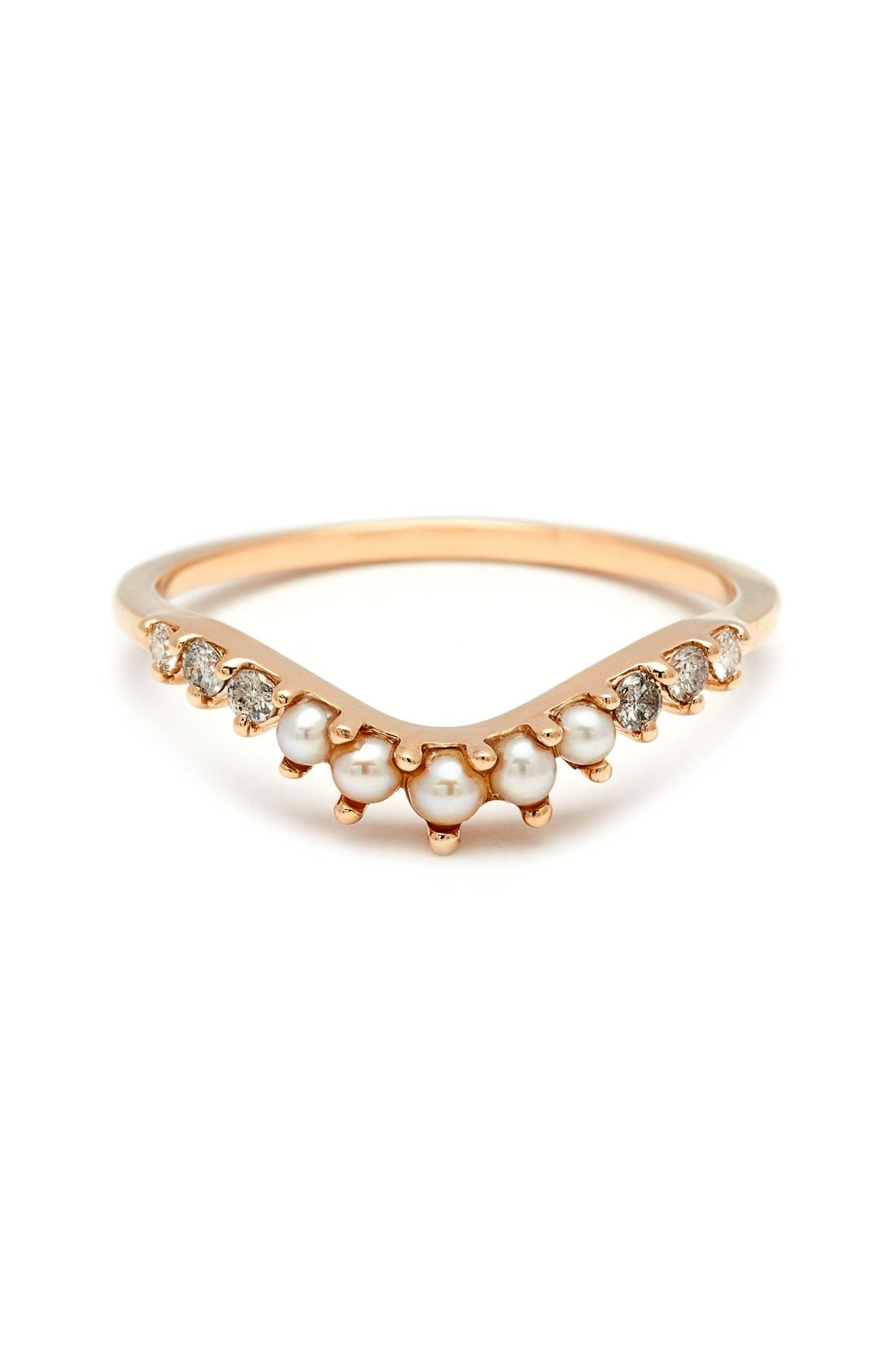 Anna Sheffield 'Tiara Curve' Diamond & Seed Pearl Ring