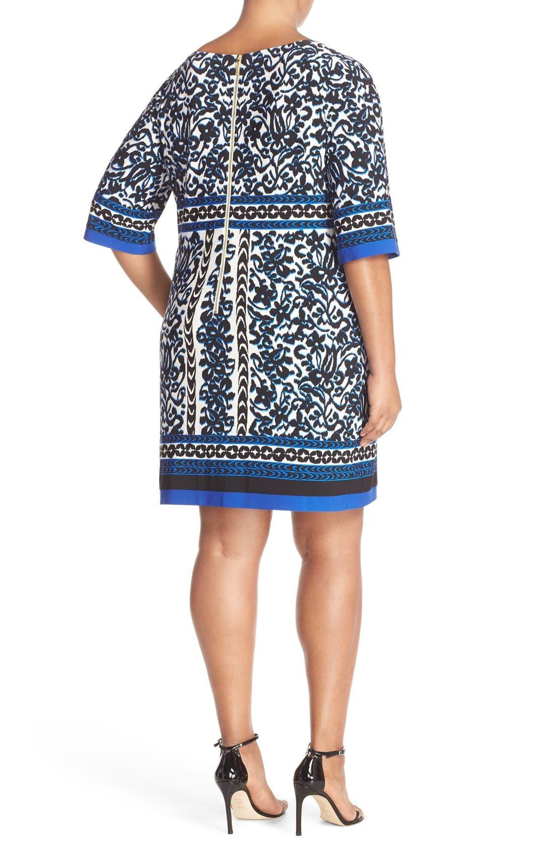 Alternate Image 2  - Eliza J Border Print Elbow Sleeve Shift Dress (Plus Size)