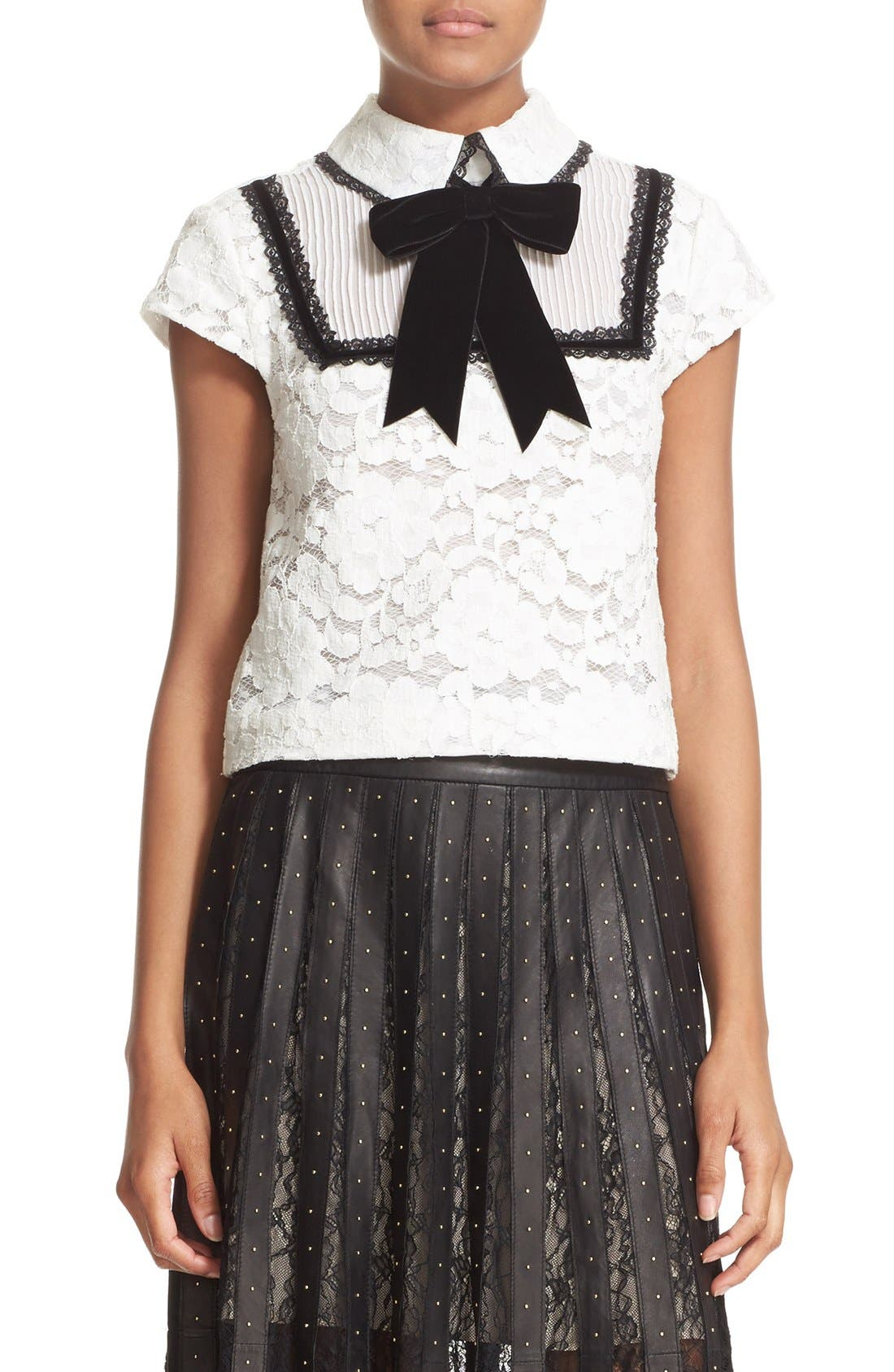 Alternate Image 1 Selected - Alice + Olivia 'Vanetta' Pintuck Bib Lace Shirt with Velvet Bowtie