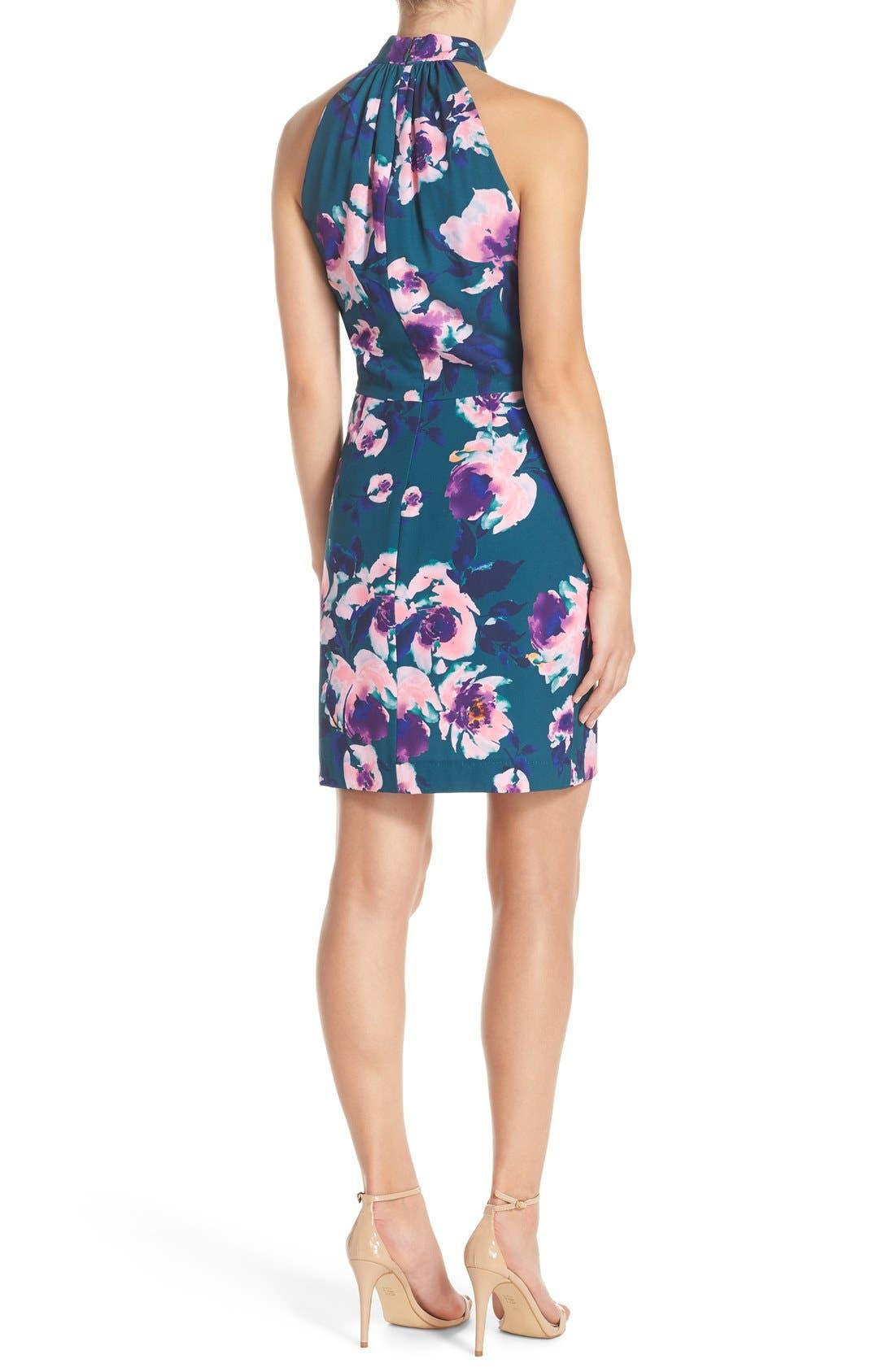 Alternate Image 2  - Charles Henry Floral Print Halter Dress
