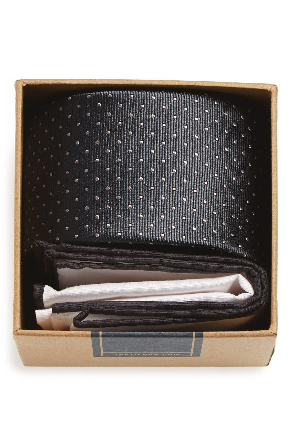 THE TIE BAR Dot Silk Tie & Cotton