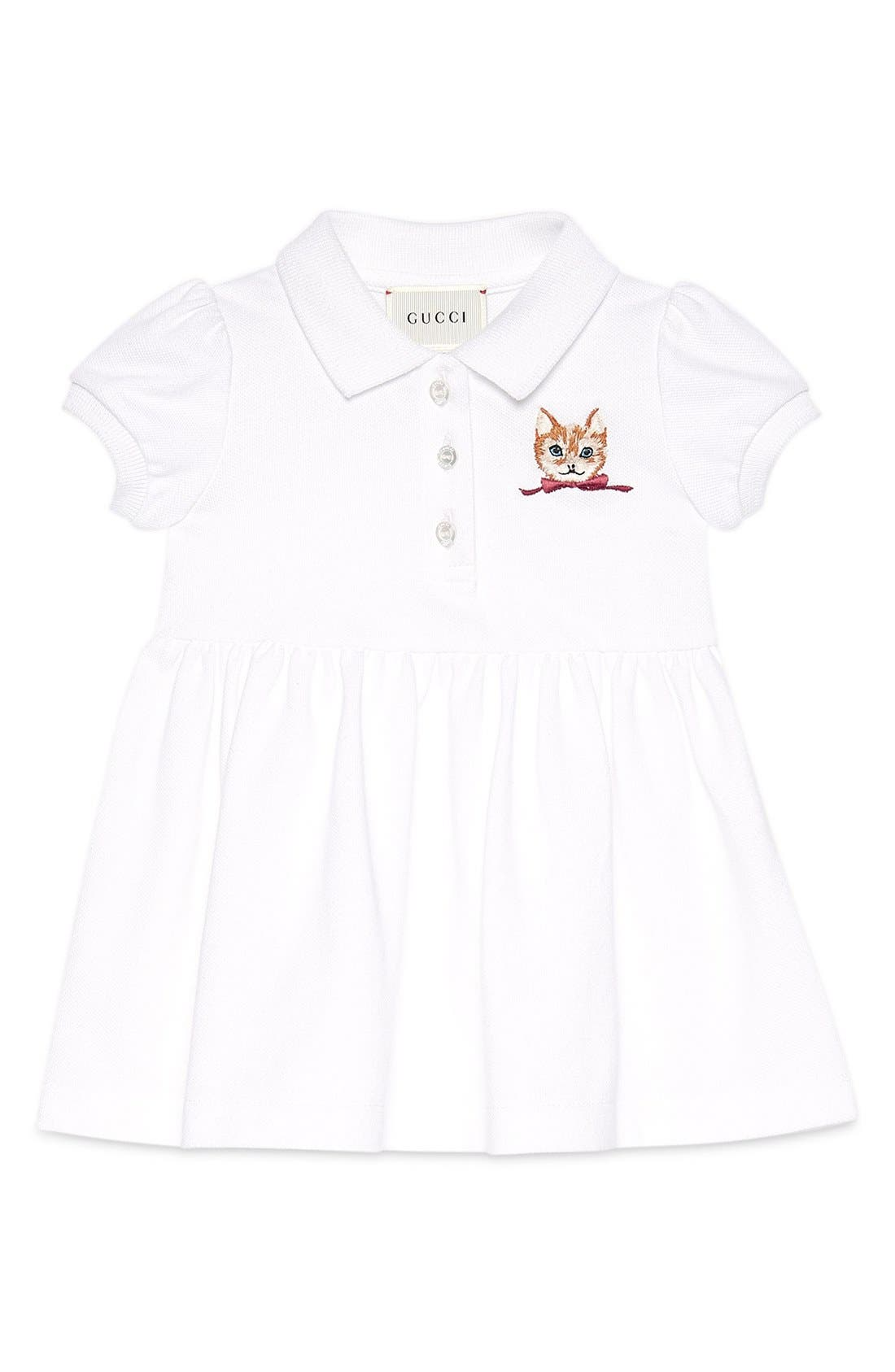 GUCCI Cat Embroidered Polo Dress
