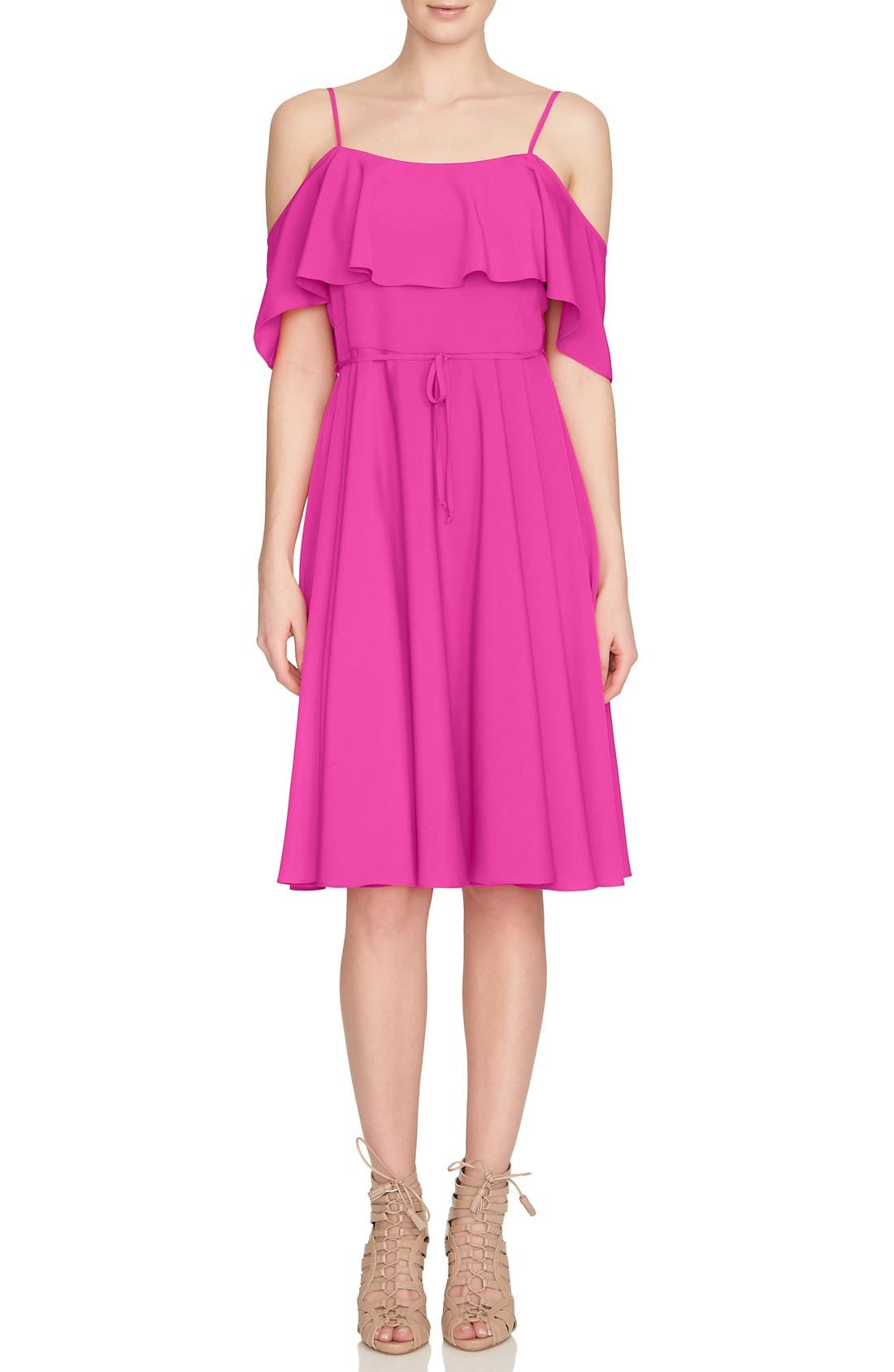 Main Image - CeCe 'Jackie' Cold Shoulder Fit & Flare Dress