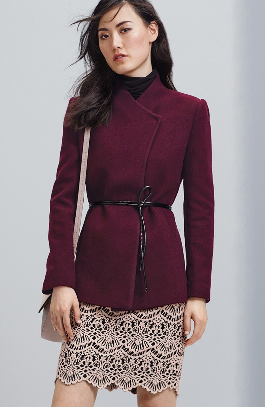 Alternate Image 6  - Halogen® Belted Short Wool Blend Coat (Regular & Petite)