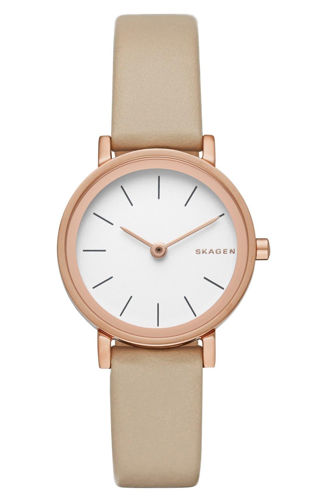 Alternate Image 1 Selected - Skagen 'Hald' Leather Strap Watch, 26mm