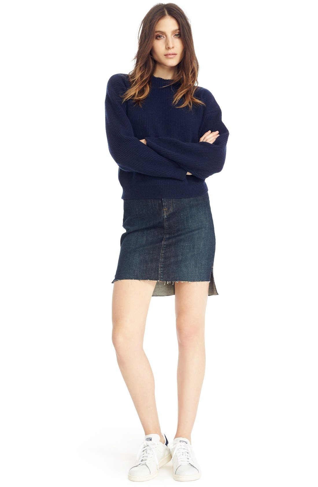 Alternate Image 2  - FRAME High Rise Denim Miniskirt (Catamaran)