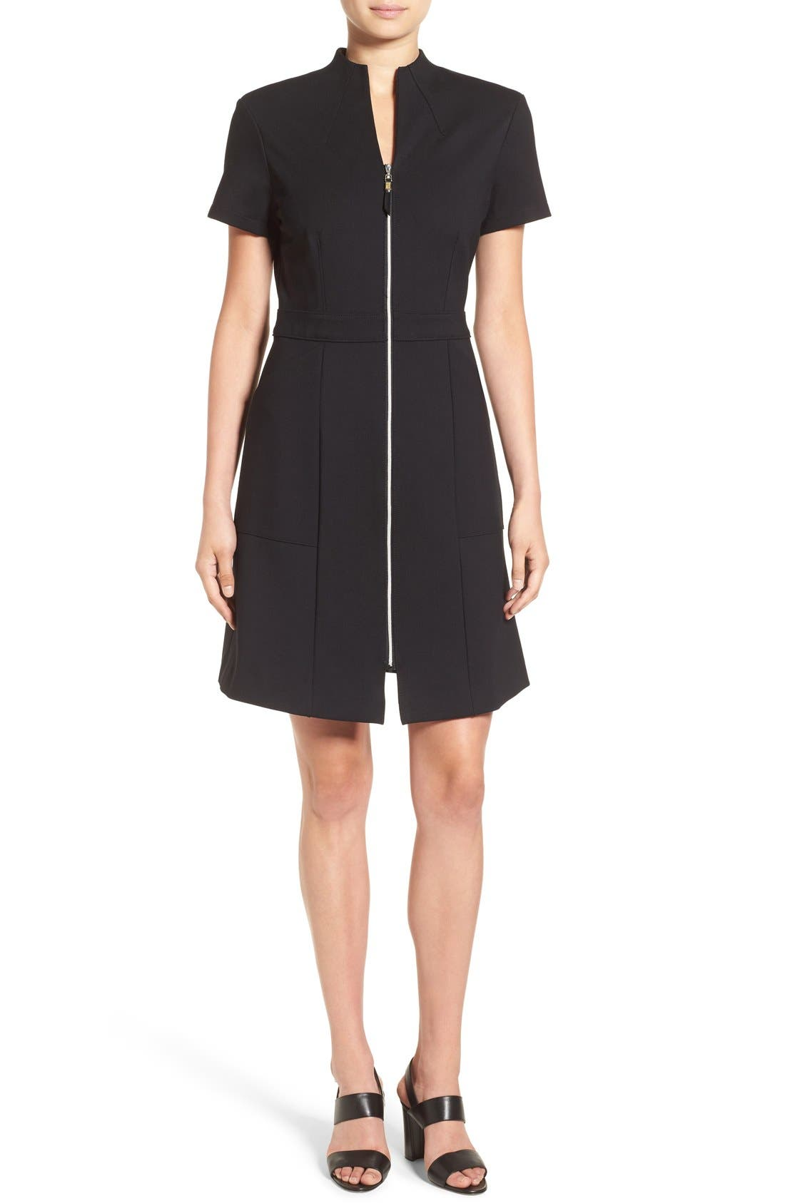 MING WANG Zip Front A-Line Ponte Dress