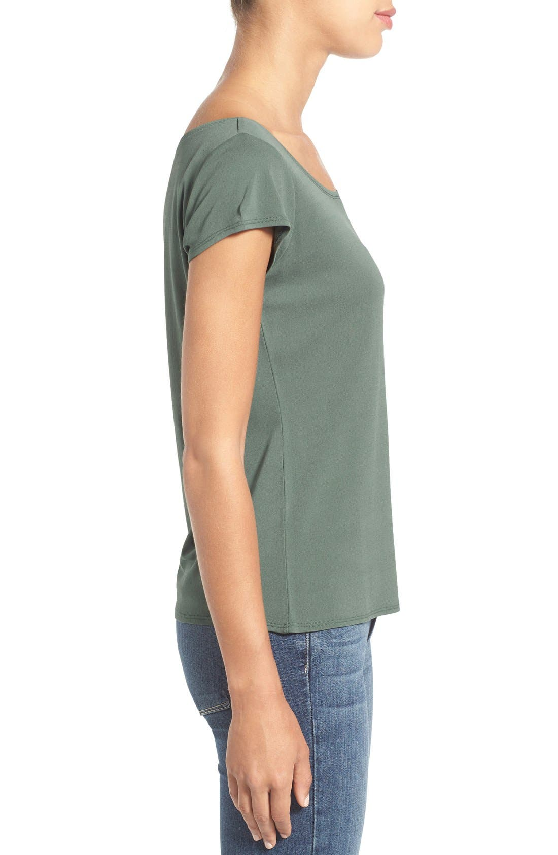 Alternate Image 3  - Eileen Fisher Cap Sleeve Silk Tee (Regular & Petite)