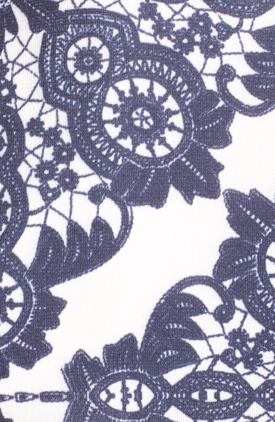 Alternate Image 7  - Eliza J Geo Print Ponte Sheath Dress (Plus Size)