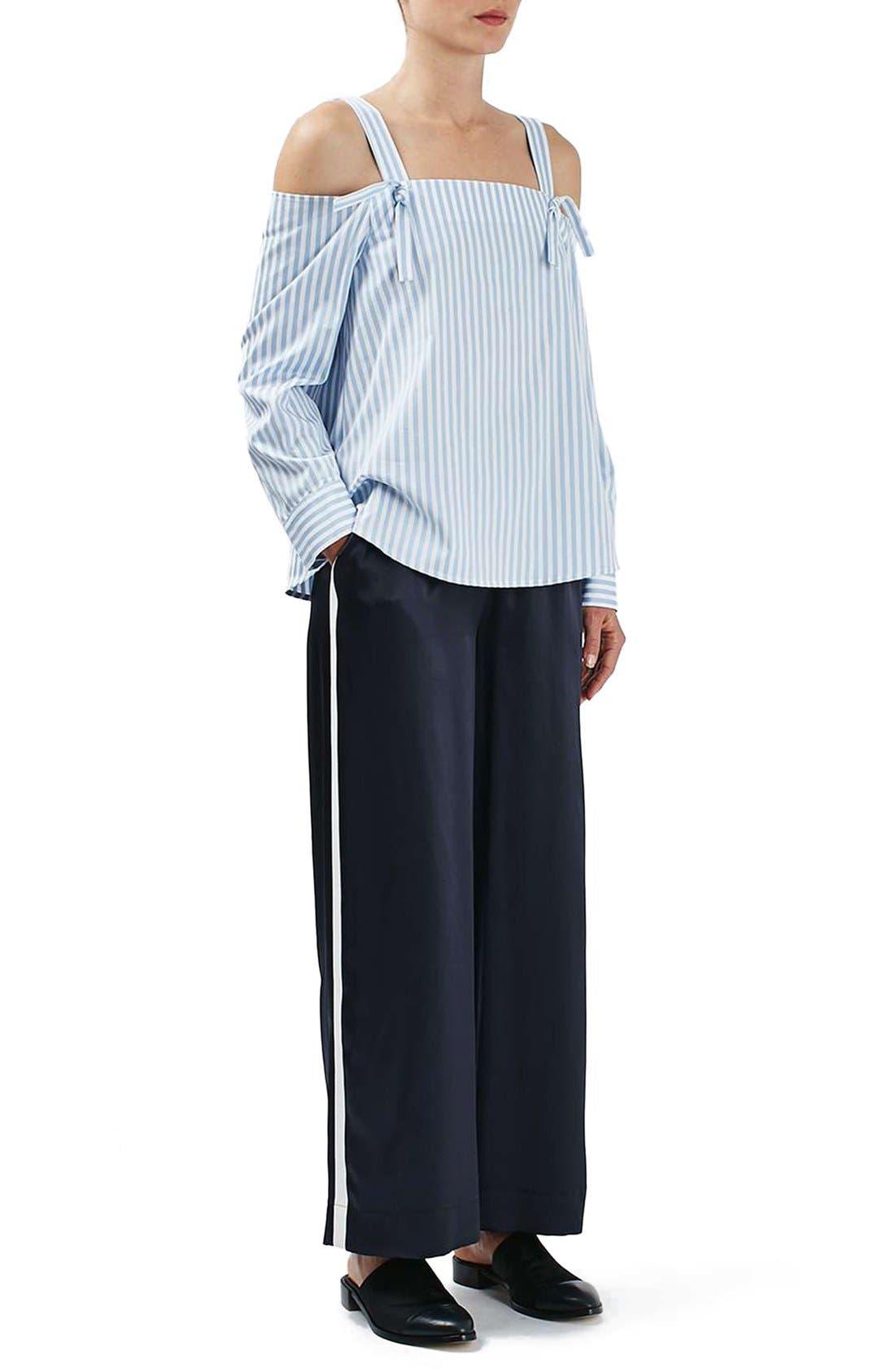 Alternate Image 1 Selected - Topshop Boutique Stripe Wide Leg Silk Pants