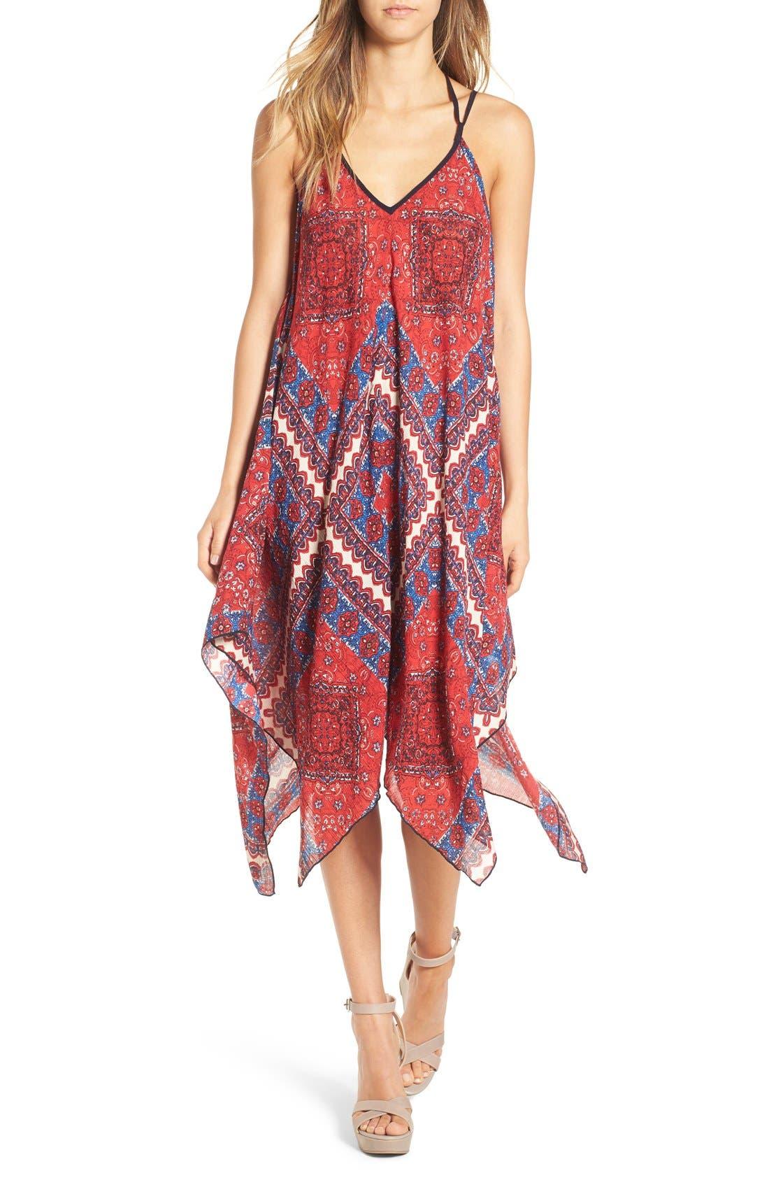 Alternate Image 1 Selected - Band of Gypsies Scarf Print Handkerchief Hem Dress