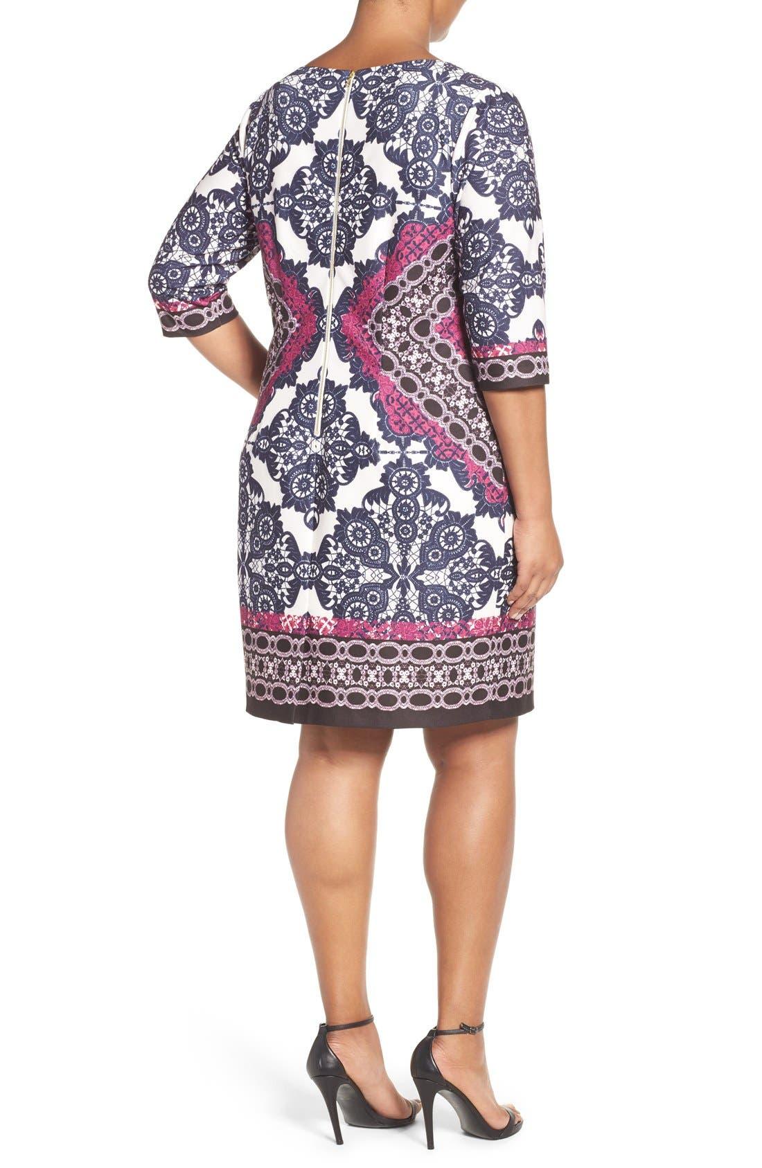 Alternate Image 3  - Eliza J Geo Print Ponte Sheath Dress (Plus Size)