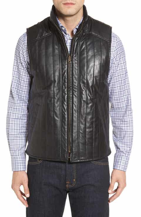 Missani Le Collezioni Puffy Leather   Wool Blend Reversible Vest