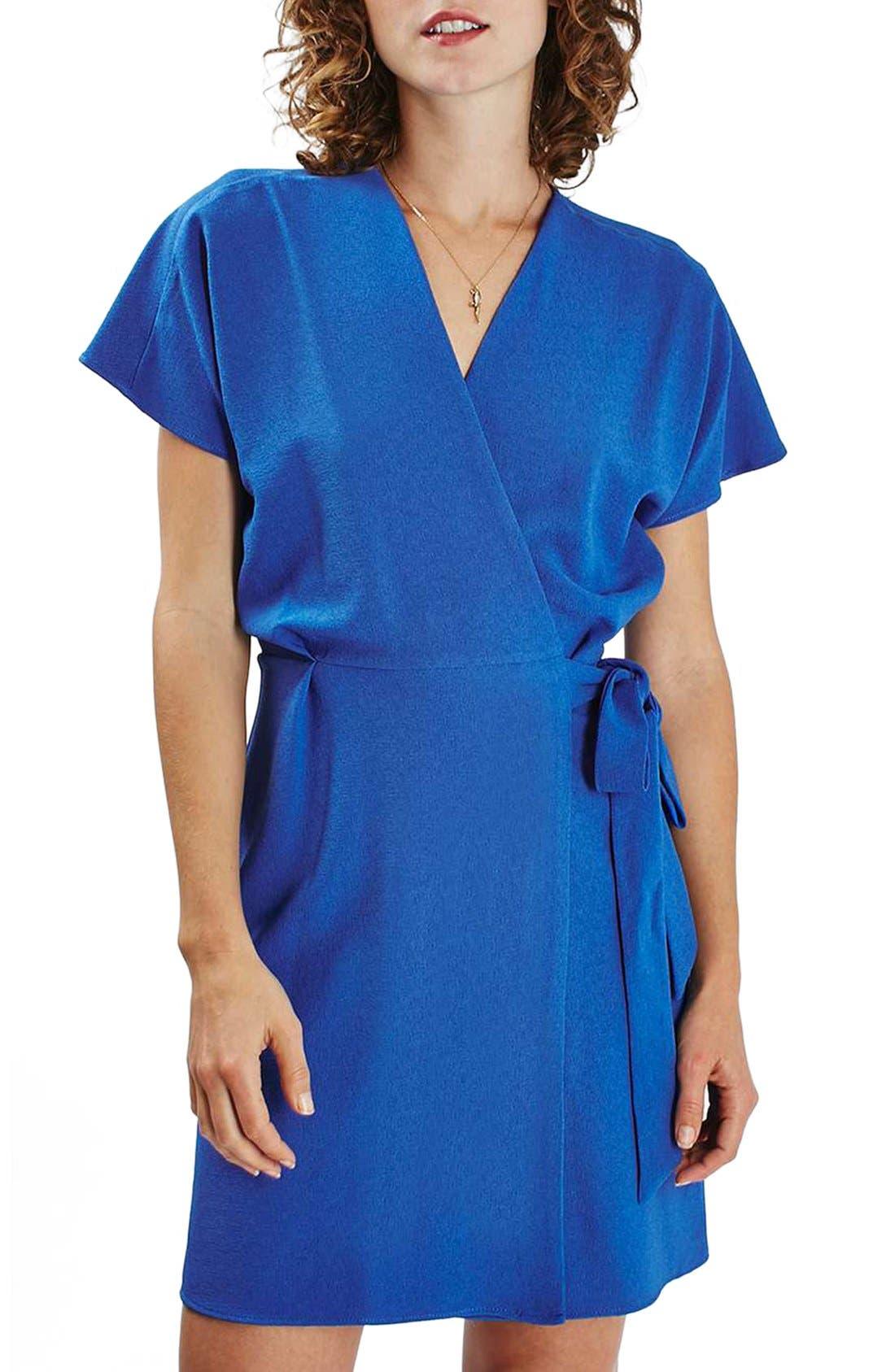 Main Image - Topshop Tie Wrap Minidress