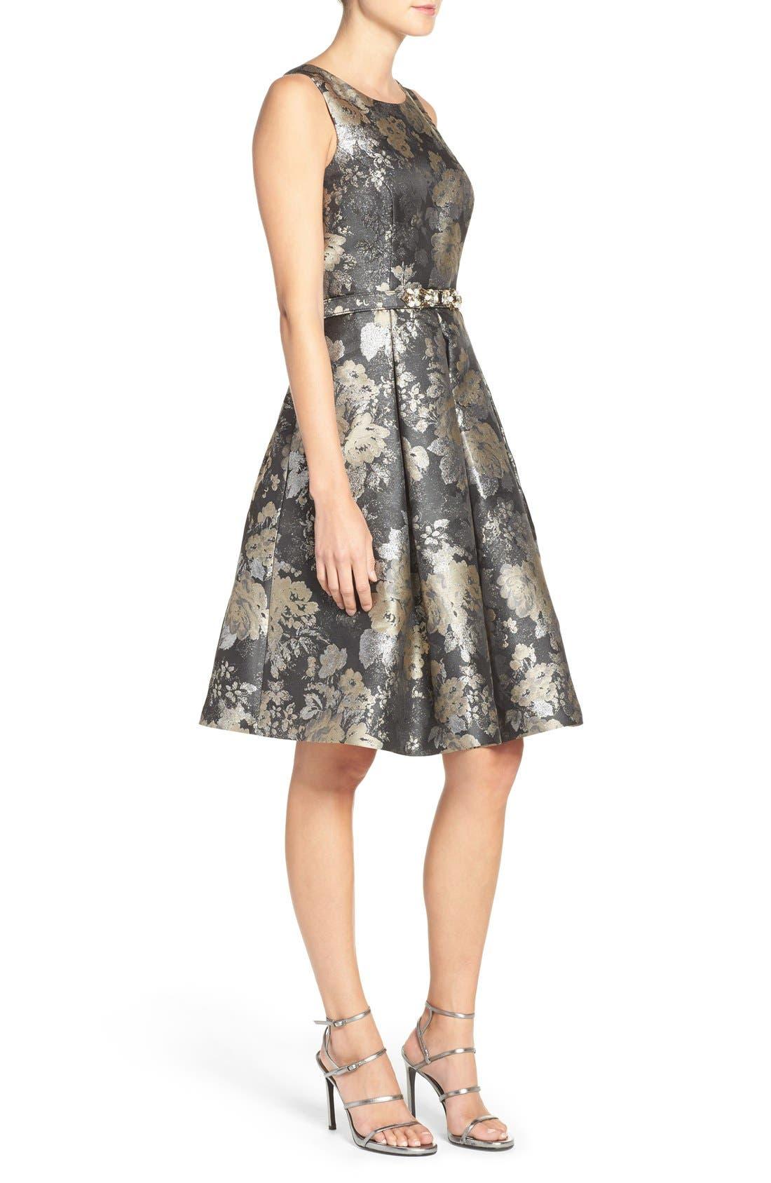 Alternate Image 3  - Eliza J Belted Jacquard Fit & Flare Dress (Regular & Petite)