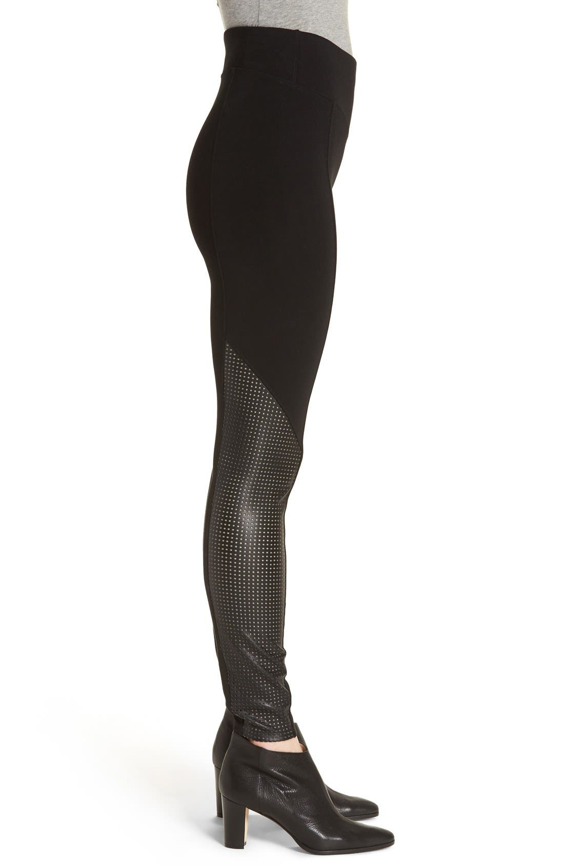Alternate Image 3  - SPANX® High Waist Perforated Panel Leggings