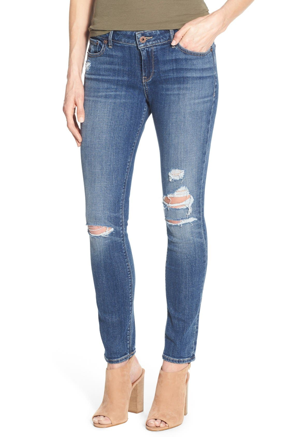Alternate Image 1 Selected - Lucky Brand 'Lolita' Distressed Stretch Skinny Jeans (Morrison)