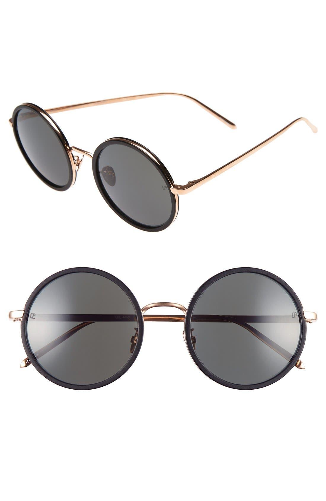 Linda Farrow 52mm Round 18 Karat Rose Gold Trim Sunglasses
