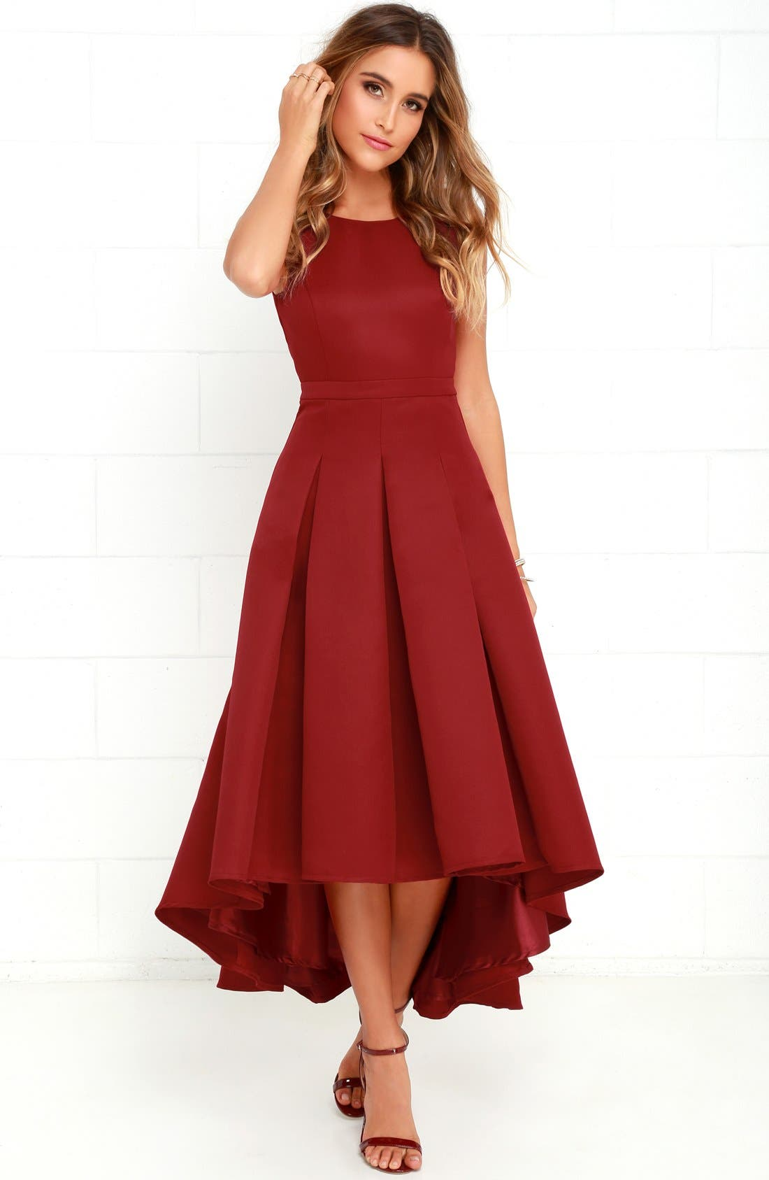 Alternate Image 2  - Lulus Cutout Back Tea Length High/Low Dress