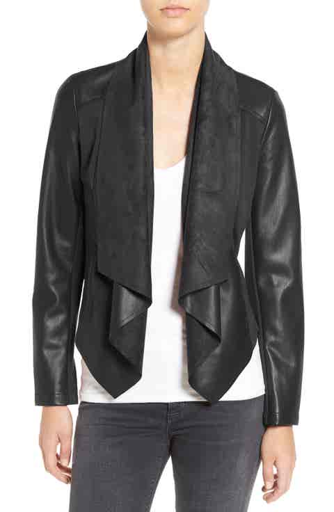 KUT from the Kloth 'Ana' Faux Leather Drape Front Jacket (Regular   Petite)