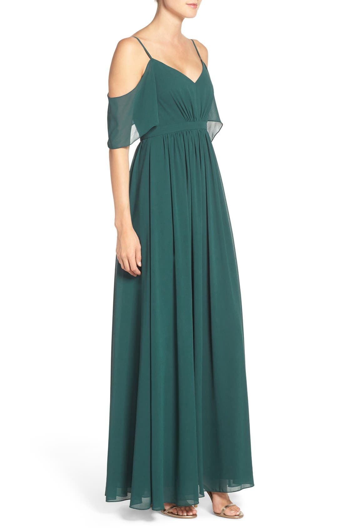 Alternate Image 3  - Lulu's Off the Shoulder Chiffon Gown