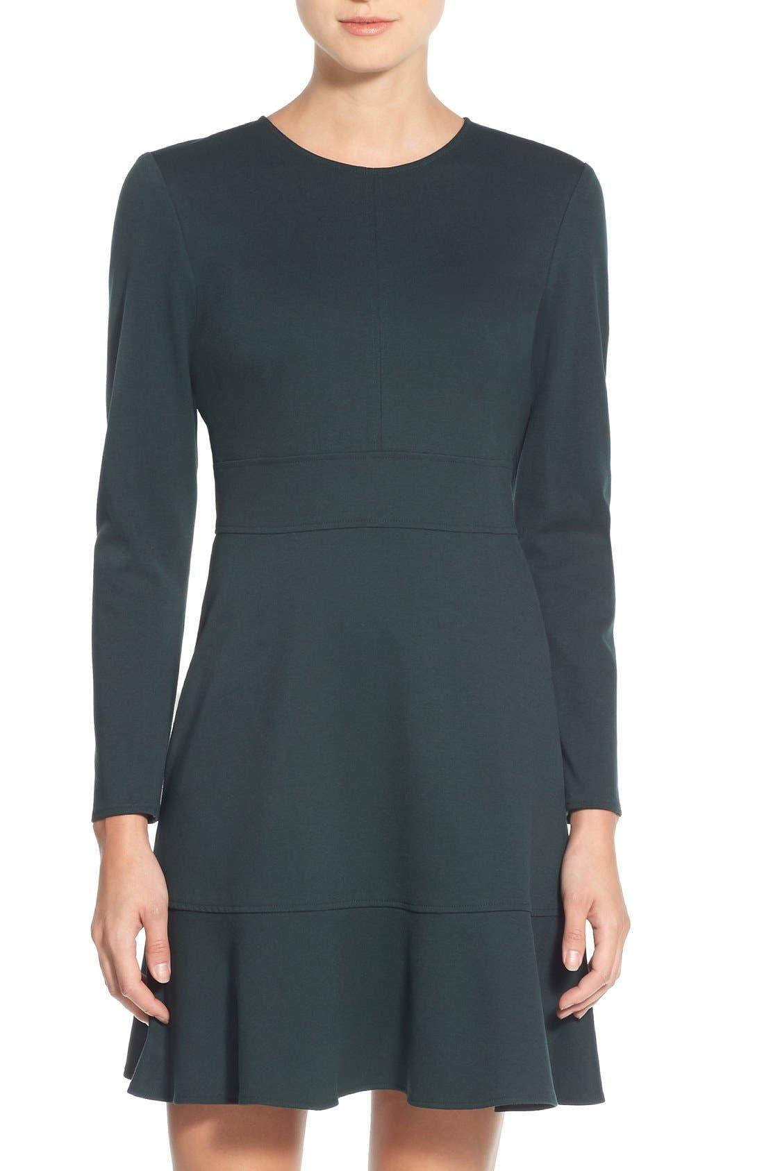 Main Image - Eliza J Ruffle Hem Stretch Fit & Flare Dress