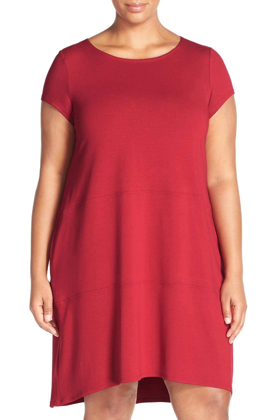 Alternate Image 1 Selected - Eileen Fisher Bateau Neck Cap Sleeve Dress (Plus Size)