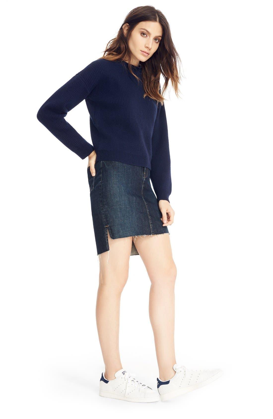 Alternate Image 6  - FRAME High Rise Denim Miniskirt (Catamaran)