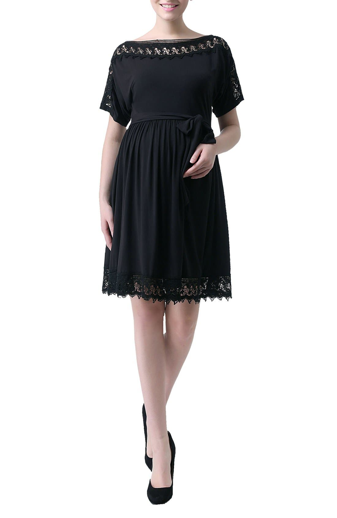 KIMI AND KAI 'Elsie' Crochet Trim Maternity Dress