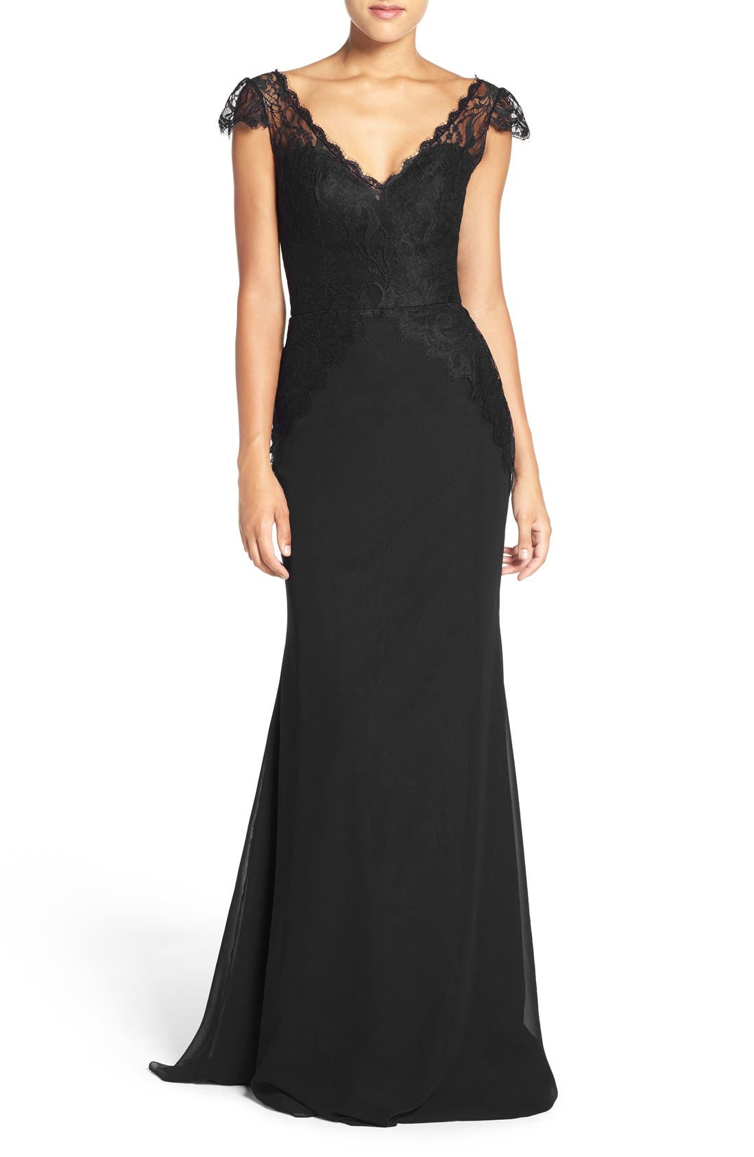 Alternate Image 1 Selected - Hayley Paige Occasions Cap Sleeve Lace & Chiffon Trumpet Gown