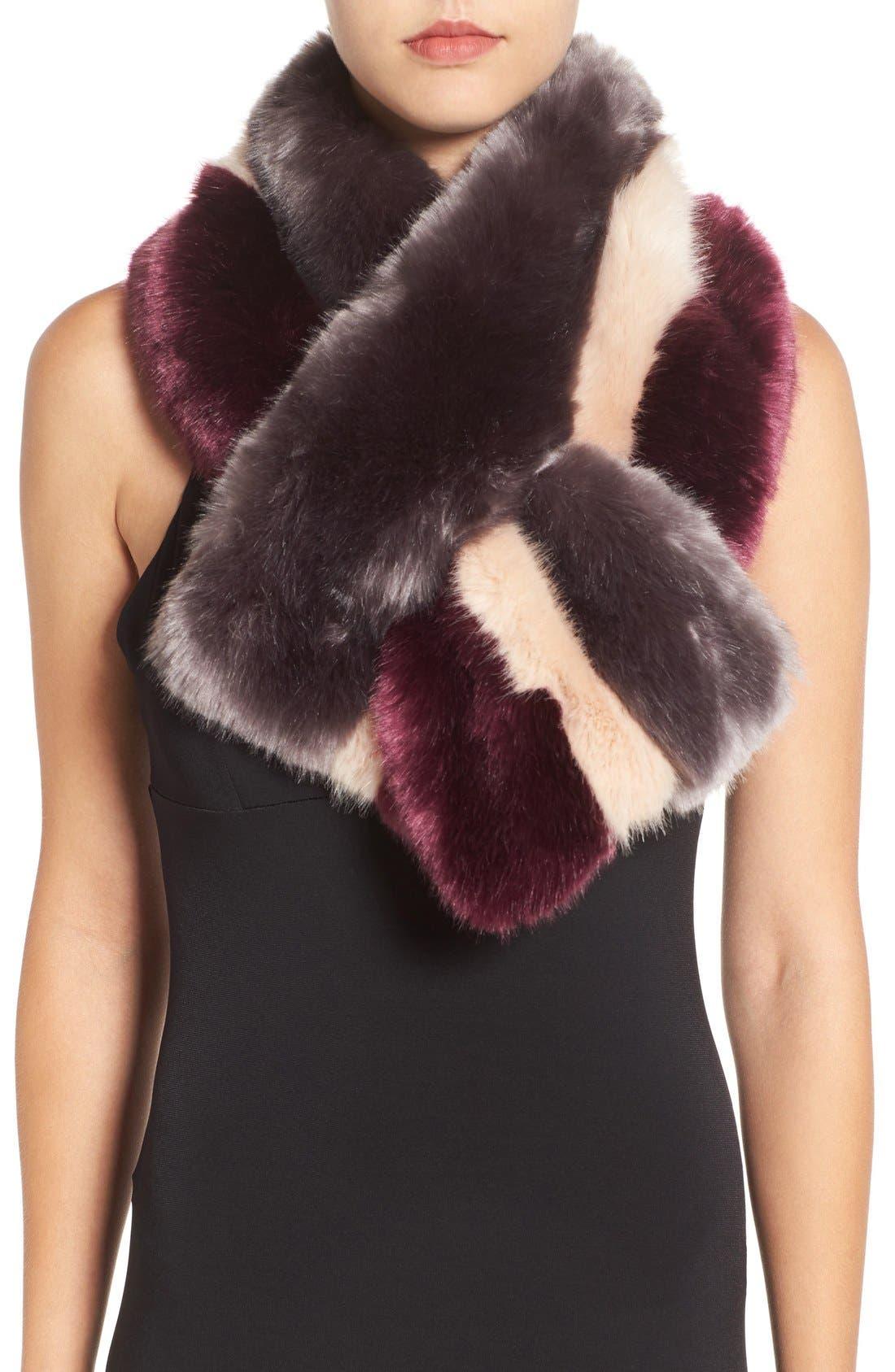 Ted Baker London Stripe Faux Fur Scarf