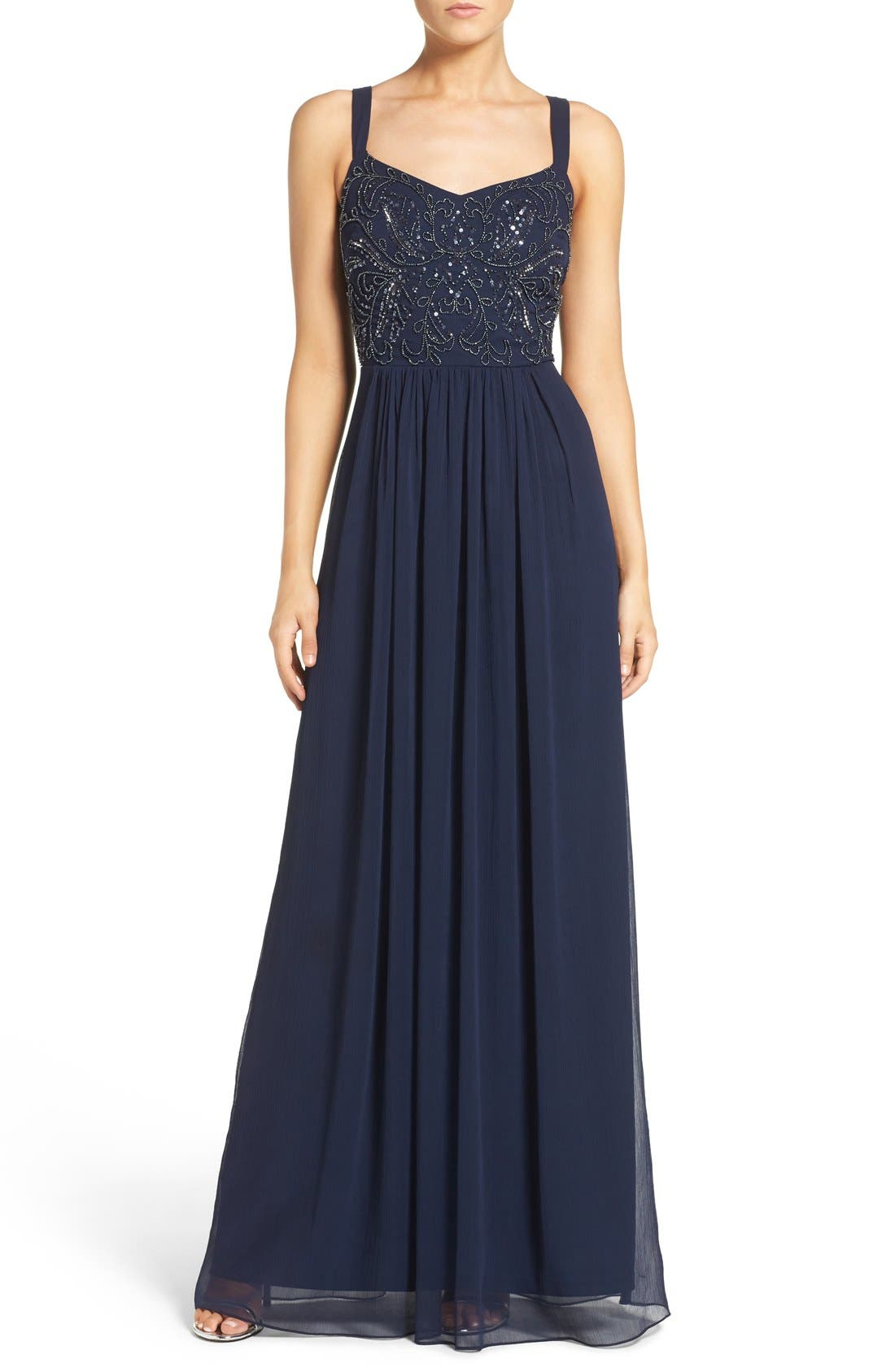 Main Image - Adrianna Papell Embellished Bodice Chiffon Gown