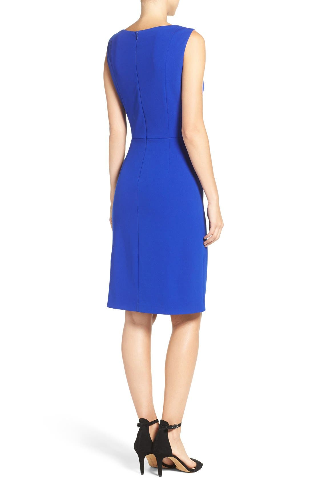 Alternate Image 2  - Betsey Johnson Gathered Crepe Sheath Dress