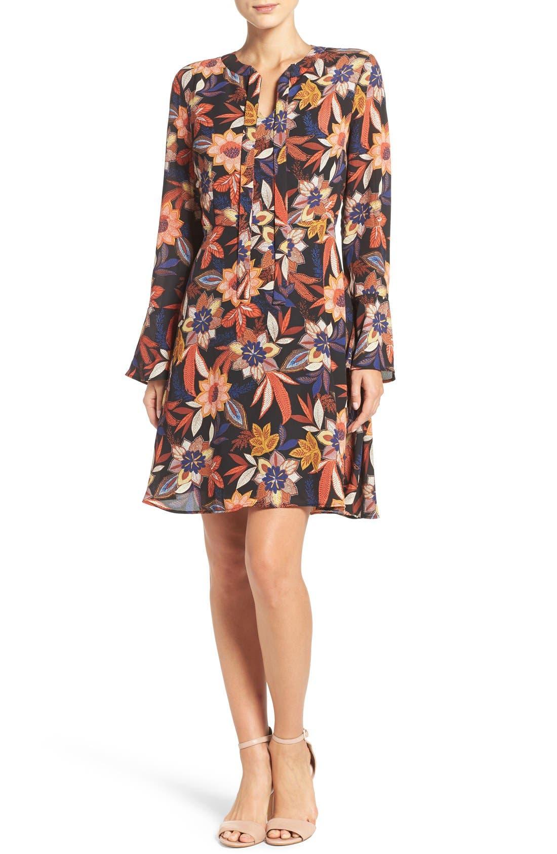 Alternate Image 4  - ECI Floral Print Tie Neck Shift Dress