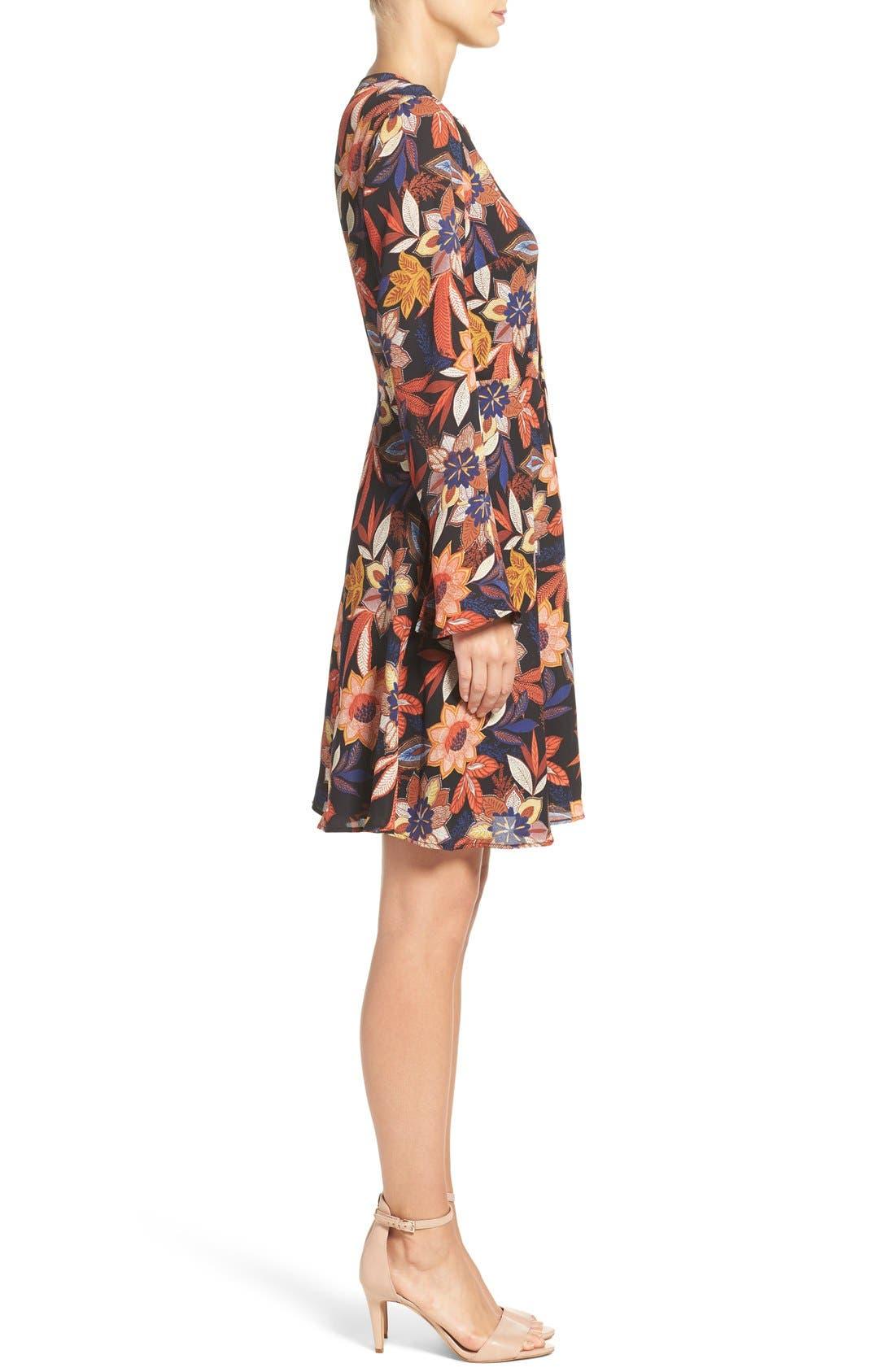 Alternate Image 3  - ECI Floral Print Tie Neck Shift Dress
