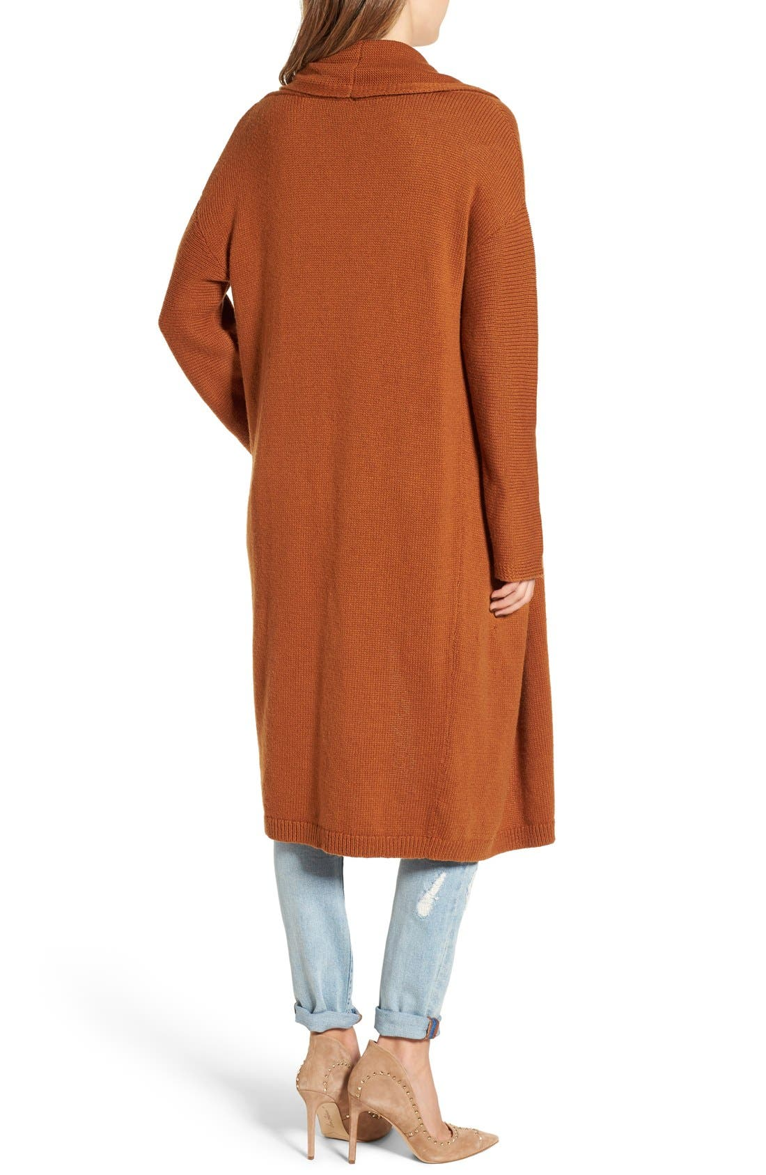 Alternate Image 2  - Leith Easy Fit Long Cotton Blend Cardigan