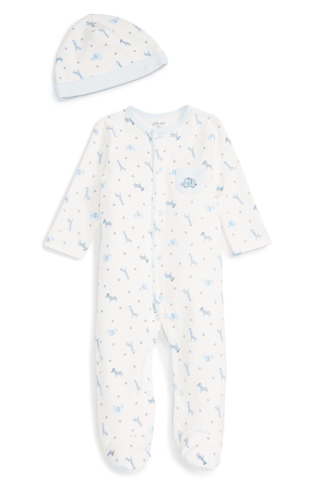 Little Me 'Safari' Footie & Hat Set (Baby Boys)