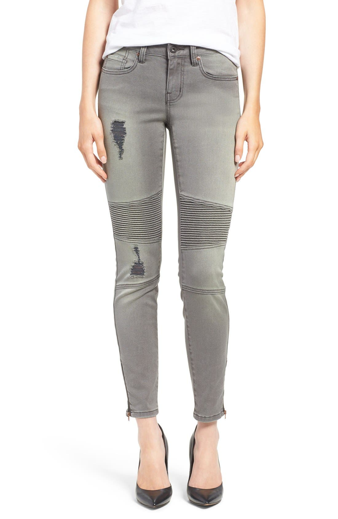 Main Image - Dex Distressed Biker Skinny Jeans (Faded Grey)