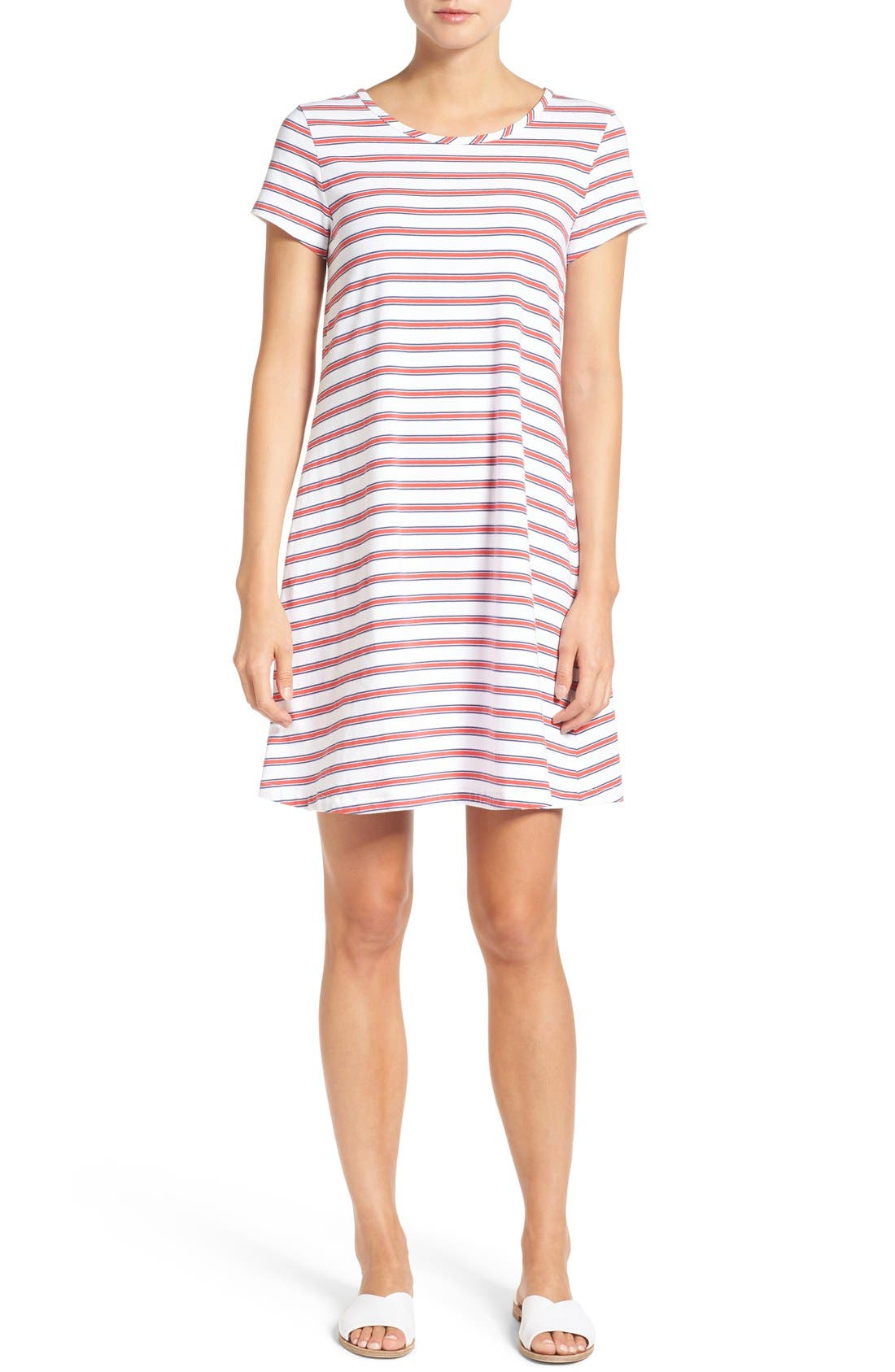 Alternate Image 1 Selected - Vineyard Vines Stripe Knit Stretch Cotton Shirtdress
