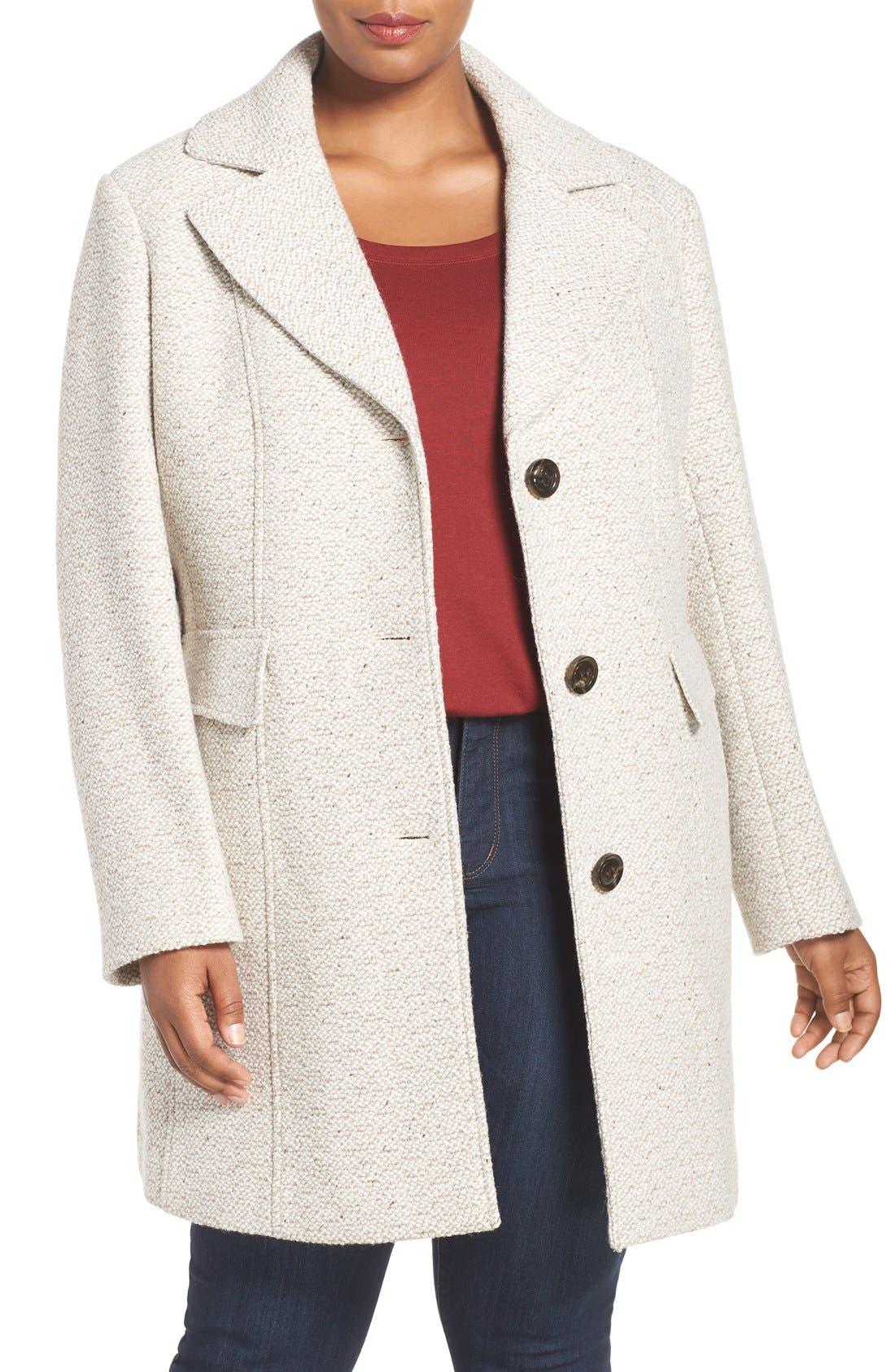 Gallery Tweed Coat (Plus Size)