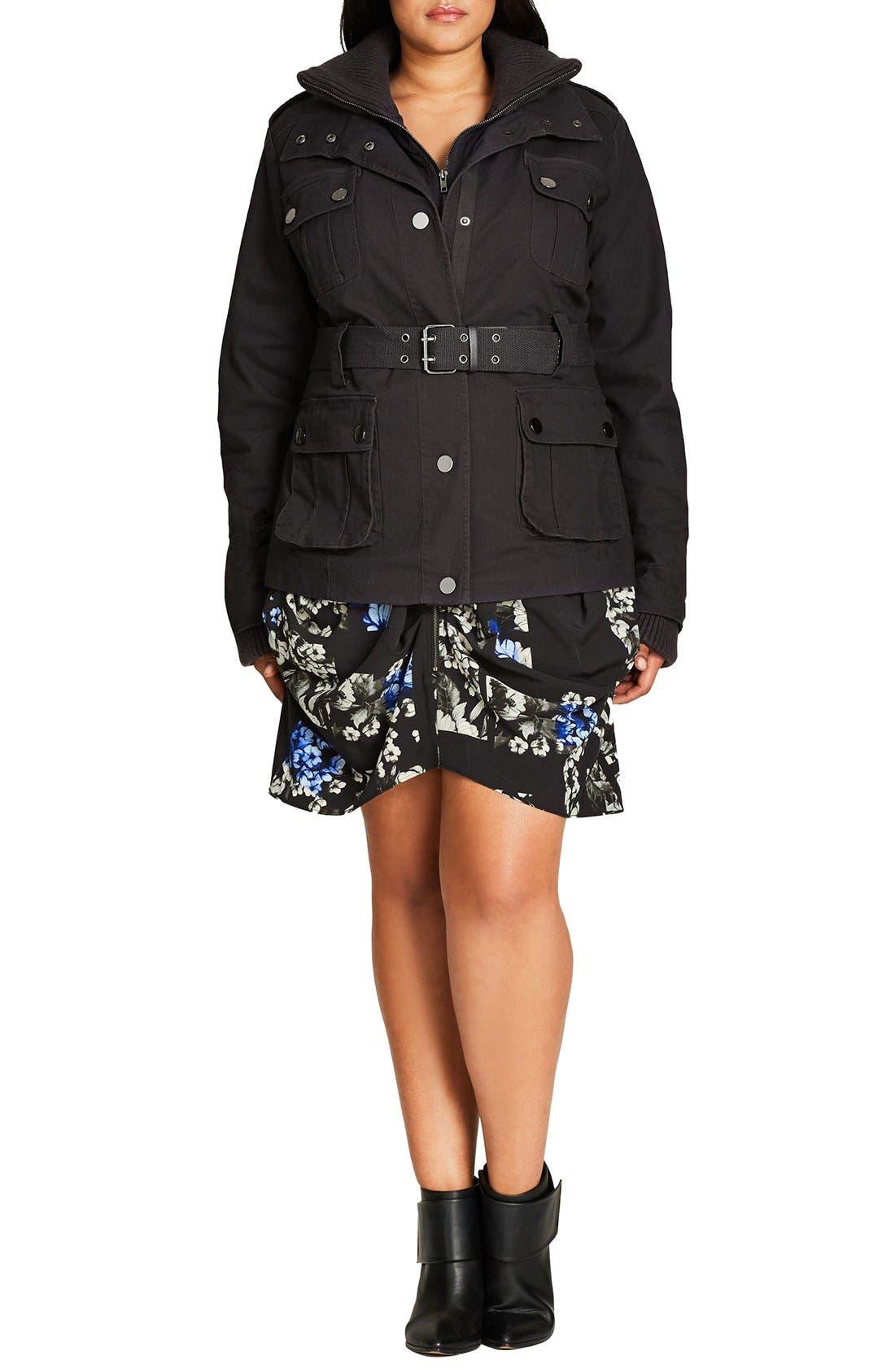 City Chic Rib Knit Trim Belted Utility Jacket (Plus Size)