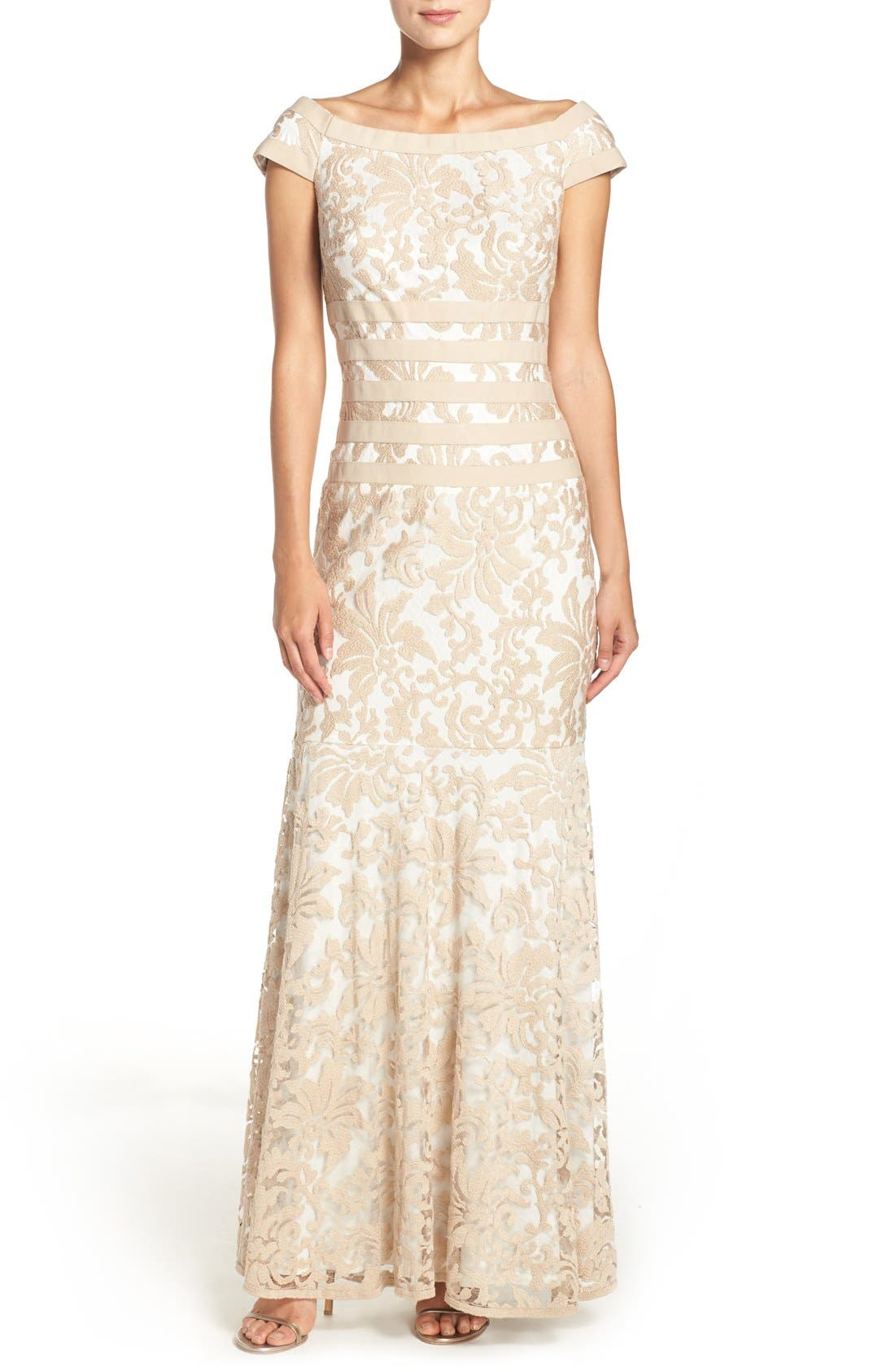 Alternate Image 1 Selected - Tadashi Shoji Textured Lace Mermaid Gown (Regular & Petite)