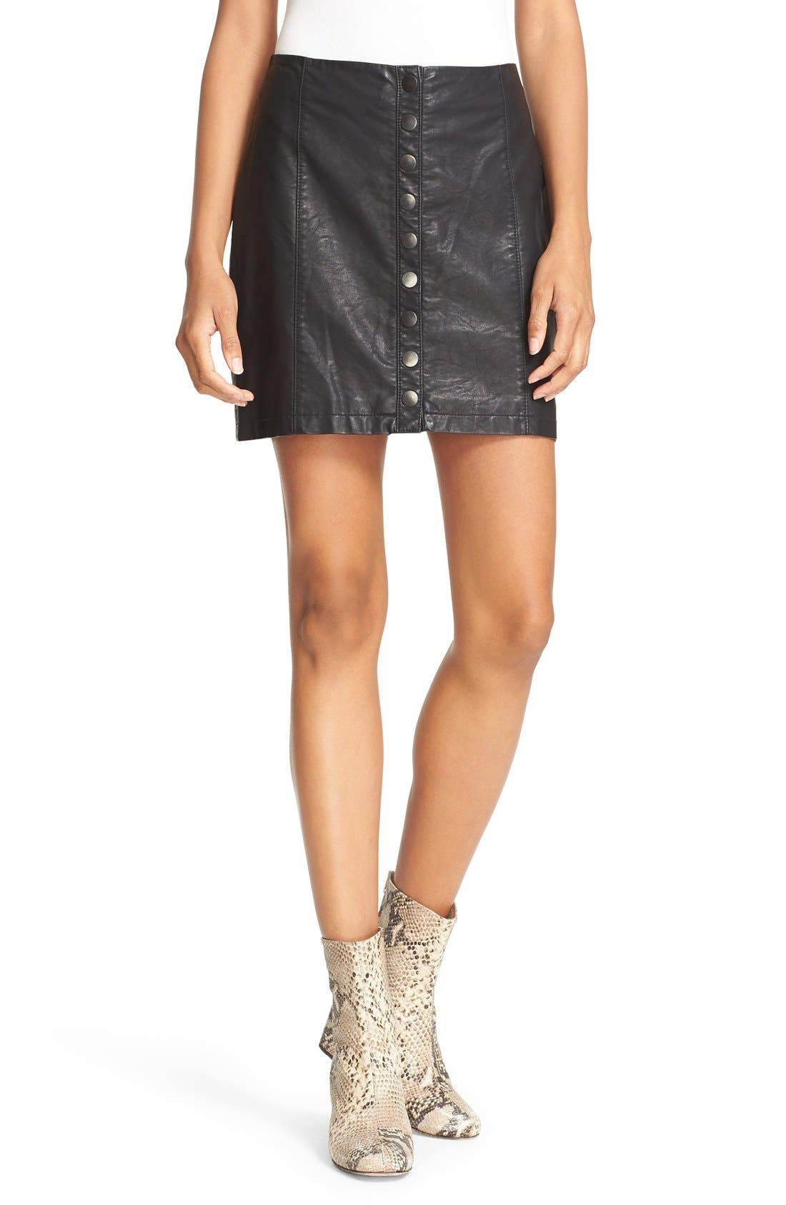 Alternate Image 5  - Free People 'Oh Snap' Faux Leather Miniskirt